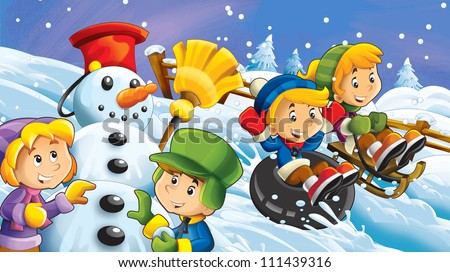 The cartoon snow holiday - illustration for the children 5
