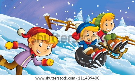 The cartoon snow holiday - illustration for the children 3