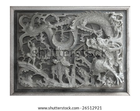 The carved stone of Chinese mythology  ,Lohan and gragon is fighting