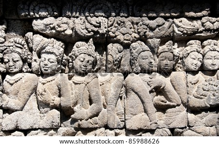 The carving stone of Borobudur temple