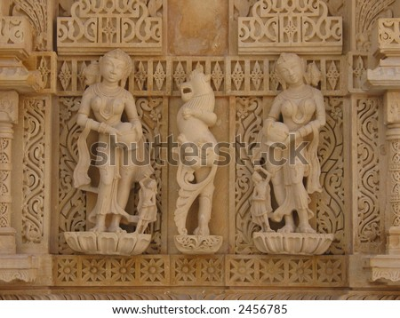 The carvings & sculptures of the ancient Jain temples at Sametshikhar, Gujarat state, INDIA