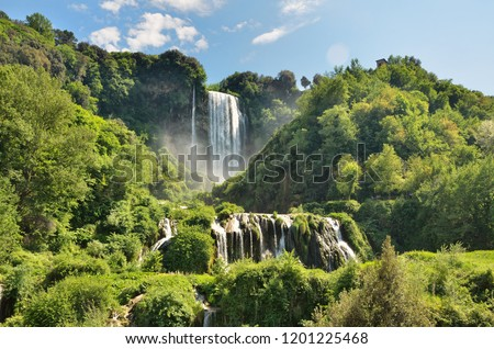 The Cascata delle Marmore (Marmore Falls) is a man-made waterfall created by the ancient Romans located near Terni in Umbria region, Italy. The waters are used to fuel an hydroelectric power plant ストックフォト ©