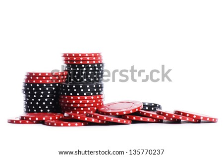 The casino chips isolated on white background