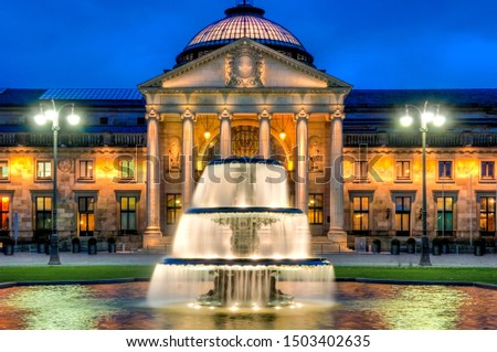 The Casino of Wiesbaden at late evening