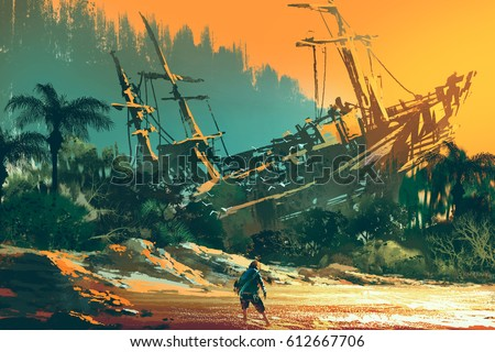 Stock Photo the castaway man standing on island beach with abandoned boat at sunset, illustration painting