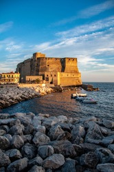 The Castel dell'Ovo photographed from the Naples waterfront.