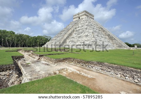 The castillo de kukulcan at chichen-itza in mexico, showing excavations as at July 2010 - stock photo