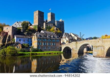 The castle and bridge in Runkel, Hesse, Germany