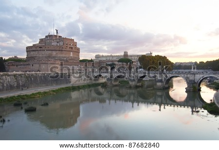 The castle and bridge of Sant'Angelo in Rome