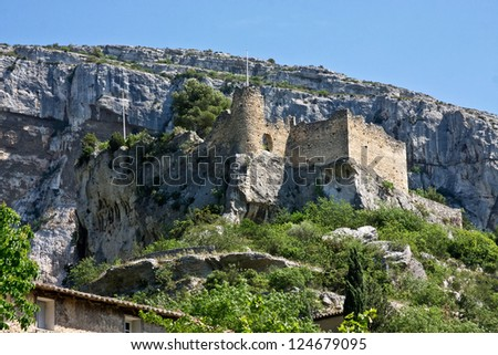 The Castle at France's Fontaine-de-Vaucluse - stock photo