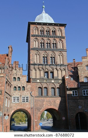 the castle gate of L�¼beck, Germany