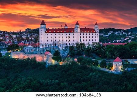 The castle in Bratislava (Slovakia) at sunset