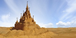 The castle is made of yellow sand.