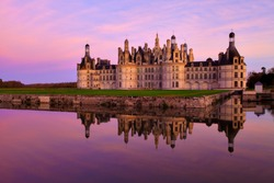 The castle of Chambord at sunset, Castle of the Loire, France