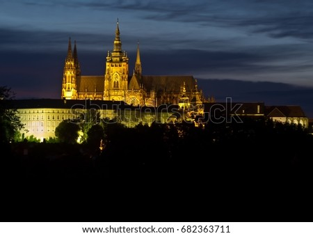 The Castle of Praha on the hill Hradschin in the Czech Republic in summer #682363711