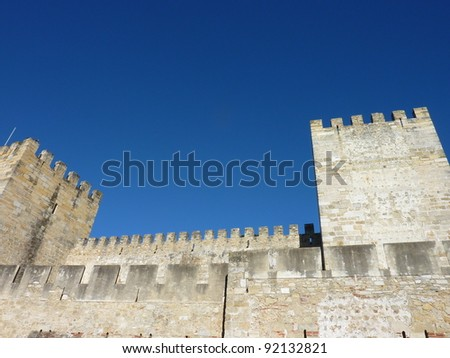 The castle of Saint George in Lisbon in Portugal - stock photo