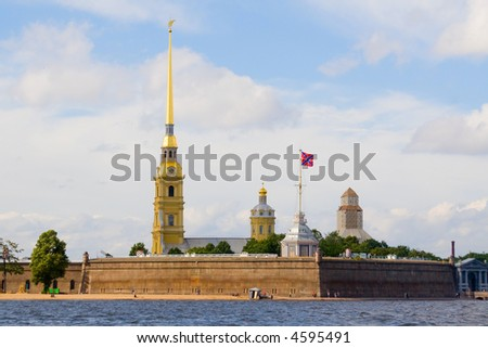 The cathedral and chapel in fortress Petropavlovskaya, Saint-Petersburg, Russia