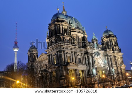 The cathedral and television tower in Berlin, Germany Long exposure night time shot.