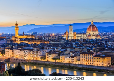The Cathedral and the Brunelleschi Dome at sunset. Florence Italy