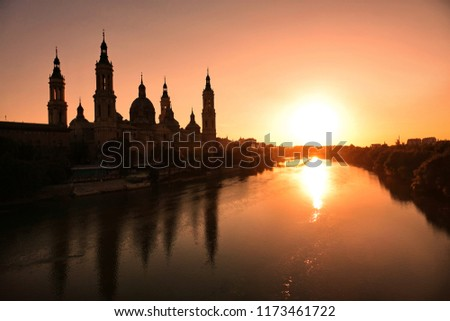 The Cathedral-Basilica of Our Lady of the Pillar and Ebor River at Sunset #1173461722