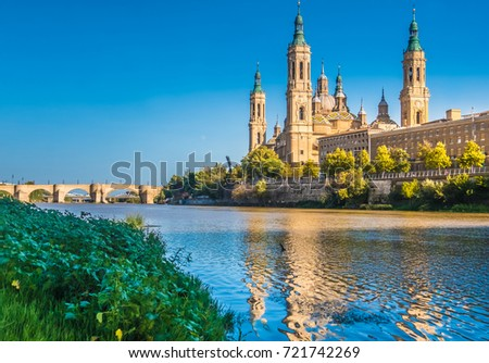 The Cathedral-Basilica of Our Lady of the Pillar, Zaragoza (Saragossa) the capital city of of Aragon, Spain.