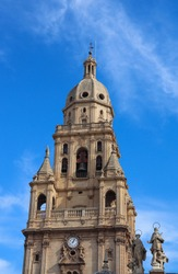The Cathedral Church of Saint Mary in Murcia, Spain. Catholic church of Murcia. Gothic architecture, Baroque architecture, Renaissance architecture, Neoclassical architecture.