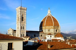The cathedral complex, in Piazza del Duomo, includes the Baptistery and Giotto's campanile. These three buildings are part of the UNESCO World Heritage Site covering the historic centre of Florence.