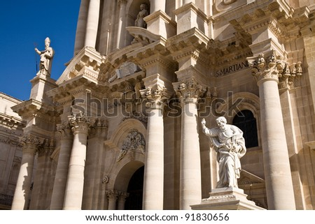 The cathedral in the main square of the historic centre of Syracuse in Sicily, Italy