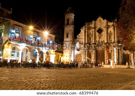 The Cathedral of Havana and its adjacent square at night