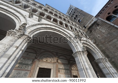 The cathedral of Lucca (Tuscany, Italy) at evening