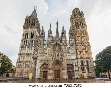 The cathedral of Rouen in France, front view