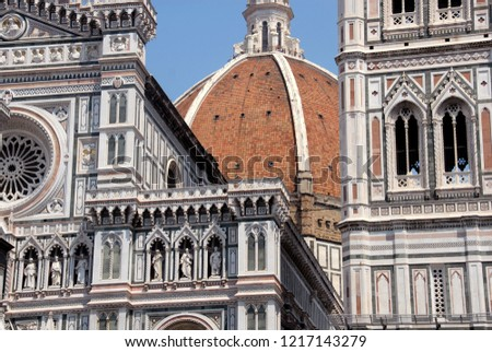 The Cathedral of Santa Maria del Fiore is a symbol of Florence with the dome of Brunelleschi, the bell tower of Giotto and the Baptistery of San Giovanni.