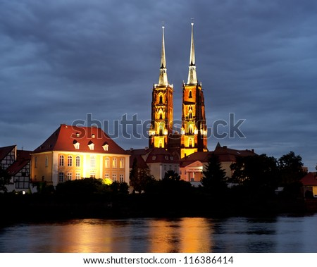 The Cathedral of St. John the Baptist in Wroclaw at night.