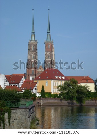 The cathedral of St John the Baptist on the river Oder in Wroclaw in Poland