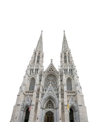The Cathedral of St. Patrick isolated on white background. It is a decorated neo-gothic Catholic cathedral on Manhattan in New York City, New York, United States, erected in 1879