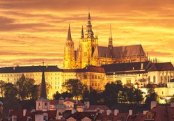 the Cathedral of St. Vitus at sunset. Czech Republic