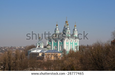 The Cathedral of the Assumption, dominating the city of Smolensk from the lofty Cathedral Hill, Russia.