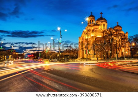The Cathedral of the Assumption in Varna. lluminated at night. #393600571