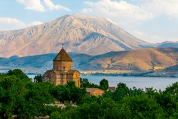 The Cathedral of the Holy Cross on Akdamar Island, in Lake Van in eastern Turkey, is a medieval Armenian Apostolic cathedral, built as a palatine church for the kings of Vaspurakan.