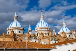 The Cathedral of the Immaculate Conception of Cuenca, also called Cuenca Cathedral, or New Cathedral located in the city of Cuenca - Ecuador. Renaissance Gothic style inspired by St. Peter's Basilica