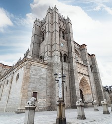 The Cathedral of the Saviour (Catedral de Cristo Salvador), Catholic church in Avila in the south of Old Castile, Spain.