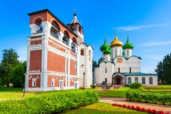 The Cathedral of the Transfiguration of the Saviour and Belfry or Bell tower at the Saviour Monastery of St. Euthymius in Suzdal city, Golden Ring of Russia