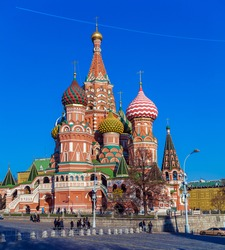 The Cathedral of Vasily the Blessed or Saint Basil's in the Red Square in Moscow, Russia