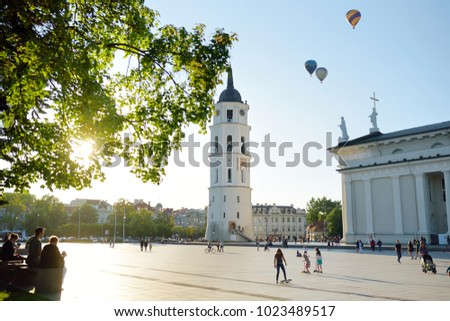 The Cathedral Square, main square of the Vilnius Old Town, a key location in city's public life, situated as it is at the crossing of the city's main streets, Vilnius, Lithuania #1023489517
