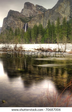 The Cathedrals as seen from the Merced River