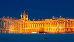 The Catherine Palace is the Rococo summer residence of the Russian tsars, located in the town of Tsarskoye Selo (Pushkin), St.Petersburg, Russia. The winter night.