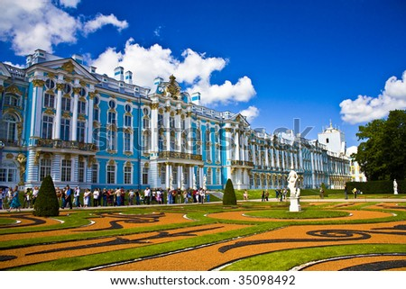 The Catherine Palace is the Rococo summer residence of the Russian tsars,