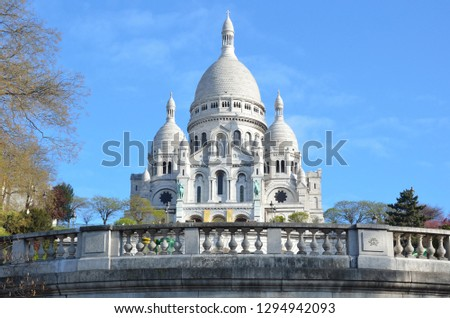The Catholic basilica of the Sacred Heart in Paris. The basilica is located above Montmartre within the urban area of the 18th arrondissement of Paris. France
