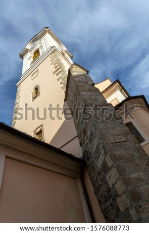 The catholic Saint Nicholas church (Szent Miklós-templom, Barátok temploma) in downtown Kecskemet, Hungary. Stock fotó ©