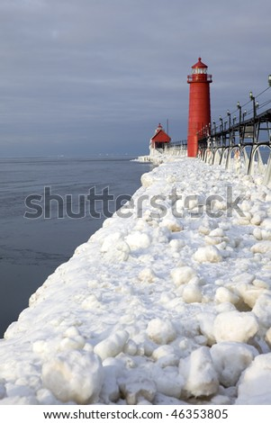 the catwalk to the lighthouses in Grand Haven, Michigan in winter